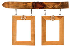 Two hanged wooden photo frames Royalty Free Stock Image