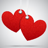 Two hanging decoration hearts Stock Images