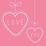 Two hanging hearts with bows. Love pink card. Royalty Free Stock Image