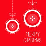 Two hanging red button merry Christmas ball with bow dash line thred applique Card Flat design Royalty Free Stock Image