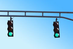 Two Hanging Traffic Signals with Green Lights Royalty Free Stock Photography