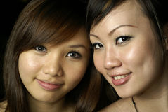 Two happy asian lady friends Royalty Free Stock Photography