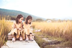 Two happy asian little child girls having fun to play together Stock Photography