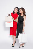 Two happy attractive young women with shopping bags on white bac Royalty Free Stock Photography