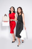 Two happy attractive young women with shopping bags on white bac Stock Photography