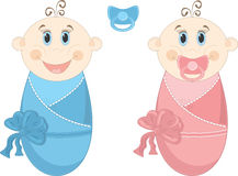 Two happy baby in diapers, vector illustration Royalty Free Stock Photography