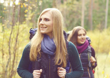 Two happy and beautiful girls walking in forest and swamps. Camp stock image
