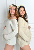Two happy beautiful pregnant women friends standing and smiling Royalty Free Stock Photo