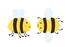 Two Happy Bees. Two cartoon happy bees isolated on white background, illustration royalty free illustration