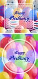 Two happy birthday card with balloons in background. Illustration Stock Photography
