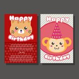 Two happy birthday template with cat and monkey. Two happy birthday template with cute animal such cat and monkey Stock Photography