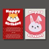 Two happy birthday template with fox and rabbit. Additional file in eps 10 Royalty Free Stock Photo