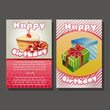 Two happy birthday template with gift box and cake. Additional in vector eps 10 file Royalty Free Stock Images