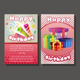 Two happy birthday template with trumpet and gif box. Additional file in eps 10 Stock Image