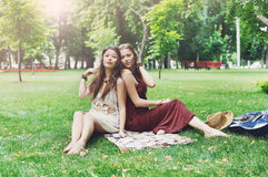 Two happy boho chic stylish girlfriends picnic in park Stock Image