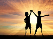 Two happy boy with a disability Royalty Free Stock Images