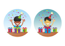 Two happy boys on birthday party Royalty Free Stock Photo