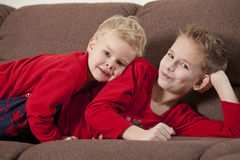 Two happy boys at home Royalty Free Stock Image