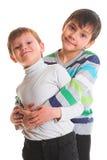 Two happy boys. Isolated on white background Stock Image