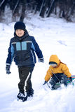 Two  happy boys on sled Royalty Free Stock Photography