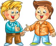 Two happy boys talking. Vector illustration. Two happy boys talking ready to shake their hands and to start a conversation. Vector illustration Royalty Free Illustration