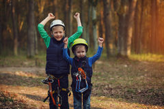 Two happy brave adorable  brothers, double portrait, looking at Royalty Free Stock Images