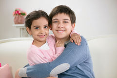 Two happy brother and siister Royalty Free Stock Photography