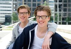 Two happy brothers smiling Royalty Free Stock Image