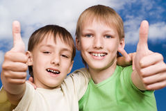 Two happy brothers stand Royalty Free Stock Image