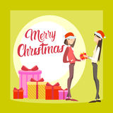 Two Happy Business Woman Hold Present Box Gift Merry Christmas And  New Year Royalty Free Stock Photos