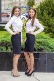 Two Happy Business women in white shirt Stock Image