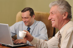 Two happy businessman working Royalty Free Stock Image