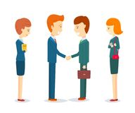 Two happy businessmen shaking hand to sign agreement. Success dealing, finish up a meeting, Two businessmen greeting, Businessmen talking about business, Two Royalty Free Stock Photography