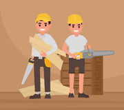 Two happy carpenters stand with tools. Vector foreman, joiner, woodworker in flat style Stock Photos