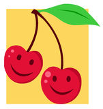 Two happy cherries with smiles Stock Images