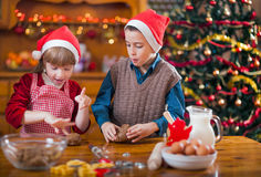 Two happy child preparing cookie for family dinner on Xmas eve Stock Image