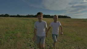 Two happy child running around and jumping in the park. On the field, the two brothers are playing at sunset. The sun stock video footage