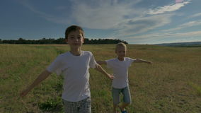 Two happy child running around and jumping in the park. On the field, the two brothers are playing at sunset. The sun stock video
