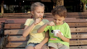Two happy children eating ice cream. On bench in the park at the day time. Concept healthy food stock video
