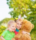 Happy children on backyard Stock Image