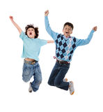 Two happy children jumping