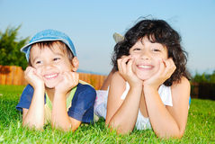 Two happy children, male and female, outdoor Royalty Free Stock Photos