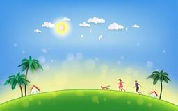 Two happy children running with dog on green summer field. Vector illustration stock illustration