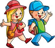 Two happy children walking. Vector illustration. Two happy children walking, going to the school Stock Images