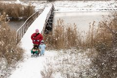 Two happy children in winter fashion clothes ride a sleigh with a toy pig and a bear on a bridge across the river. First snow, fam. Ily, tradition, holiday Royalty Free Stock Photos