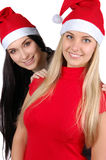 Two happy christmas girls isolated Royalty Free Stock Image