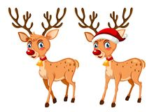 Two happy christmas reindeer Vector Illustration