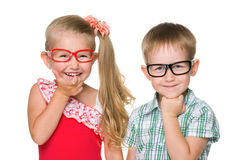 Two happy clever kids Royalty Free Stock Photos
