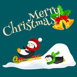 Two happy cute Christmas penguin in hat and scarf sledding snow ice slides on the eve of the new year. Greeting vector Stock Images