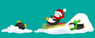Two happy cute Christmas penguin in hat and scarf sledding snow ice slides on the eve of the new year. Greeting vector Stock Photo
